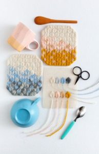 leaf stitch coaster