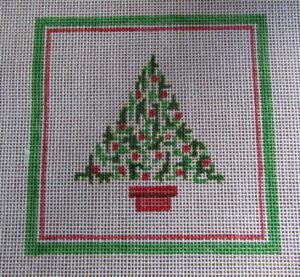 Christmas tree needlepoint, designer unkown