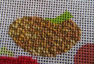 needlepoint damask pumpkin using metallic thread