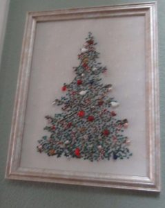 Julia's Needleworks needlepoint Christmas tree with embellishments