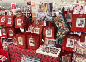 Jolly Red needlepoint kit display