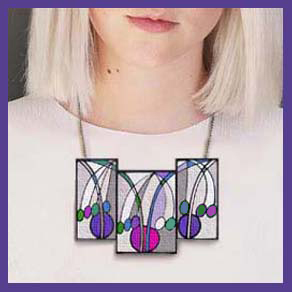 mackintosh tulips needlepoint necklace