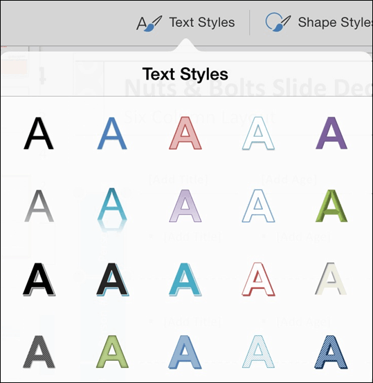 PowerPoint for iPad Shapes Tab #1 Text Styles