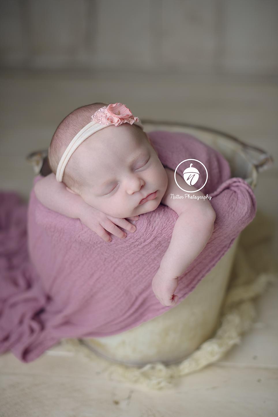 Baby girl in Bucket pose