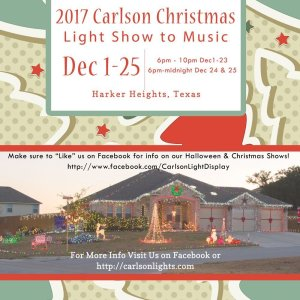 2017 Carlson Christmas Light Show to music near Fort Hood. Central Texas Light Show to Music.