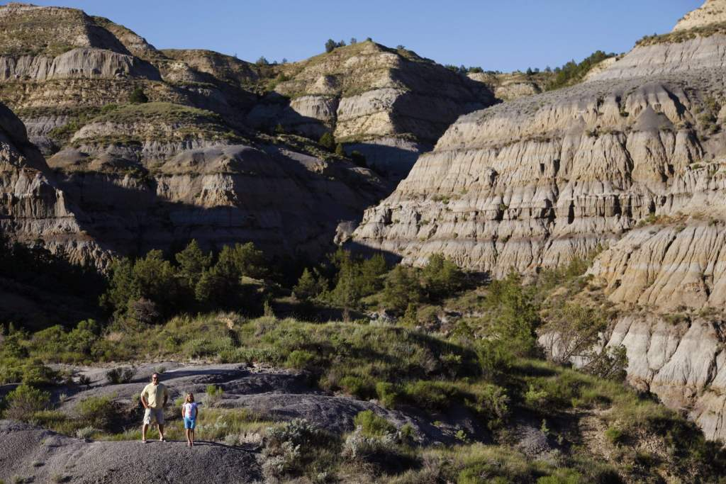 Hiking in the North Unit of Theodore Roosevelt National Park near Watford City in North Dakota
