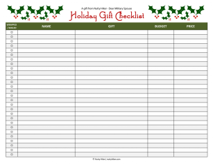 Free Holiday Gift Checklist