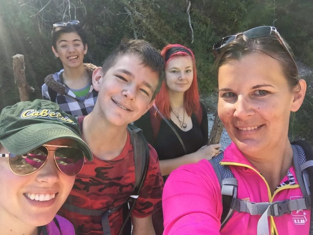 Hiking with teenagers at Chalk Ridge Falls near Belton Texas