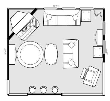 New family room layout using an online room layout builder