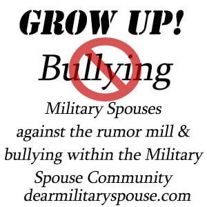Stop bullying withing the Military Spouse Community