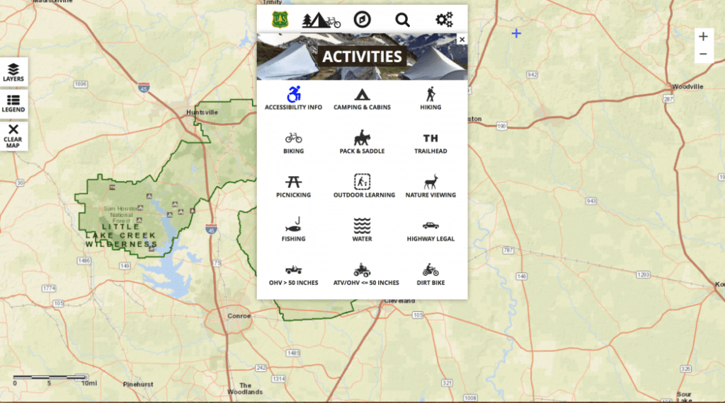 USFS Interactive Visitors Map