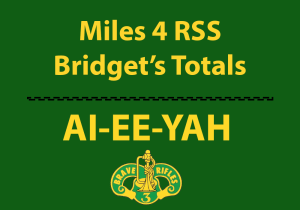 Bridget Carlson's total miles logged for 3CR RSS Soldiers that are deployed Fort Hood Texas