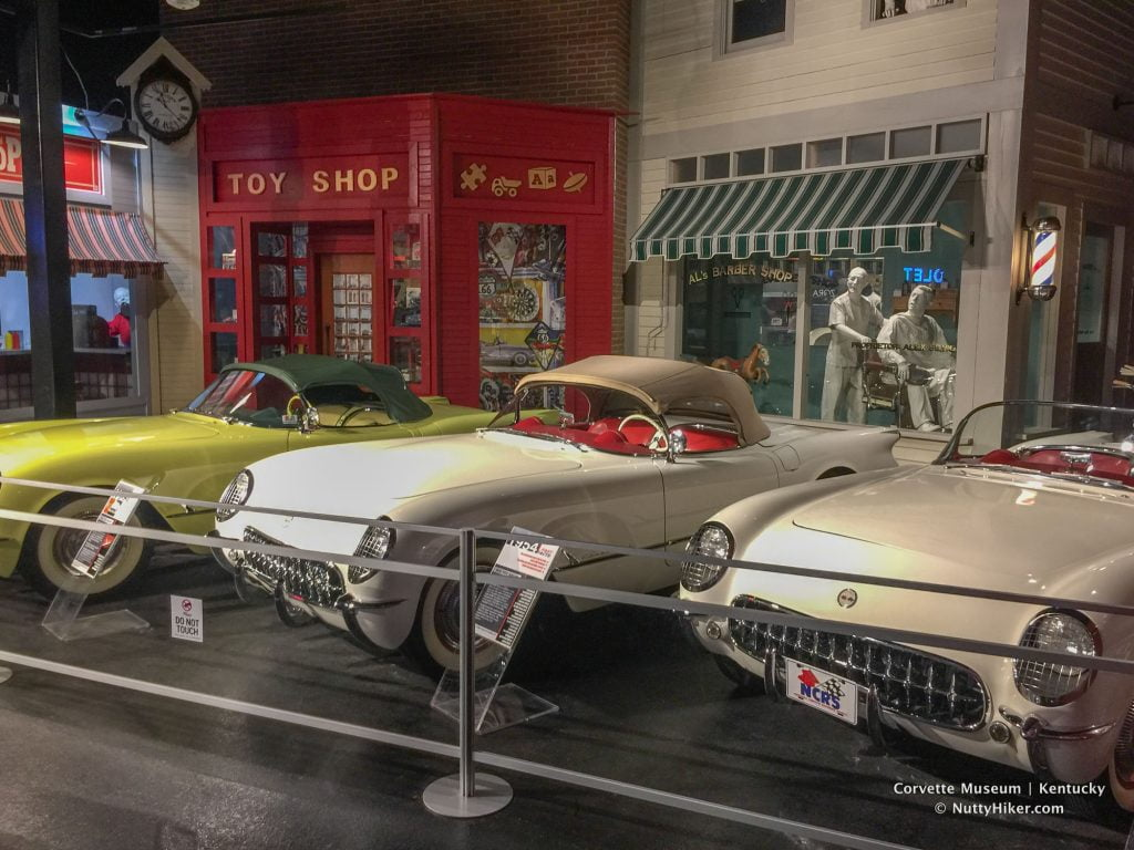 Some of the corvettes that are on display at the National Corvette Museum in Kentucky