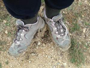 Hiking in mud at Dana Peak Park near Fort Hood Texas