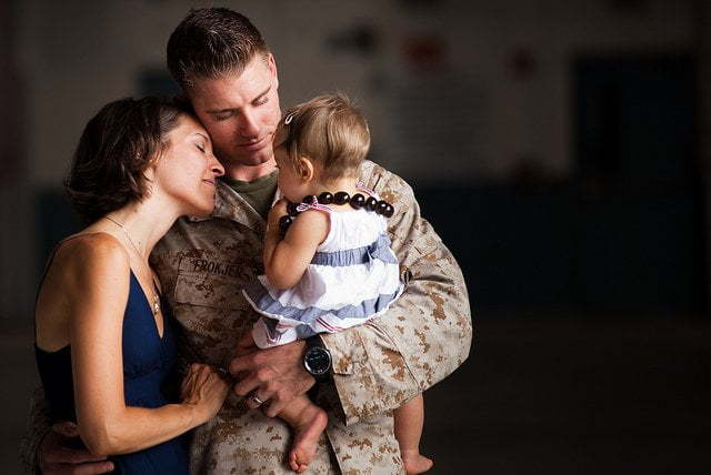 A military couple is reunited after a deployment. Emotional phases of deployment.