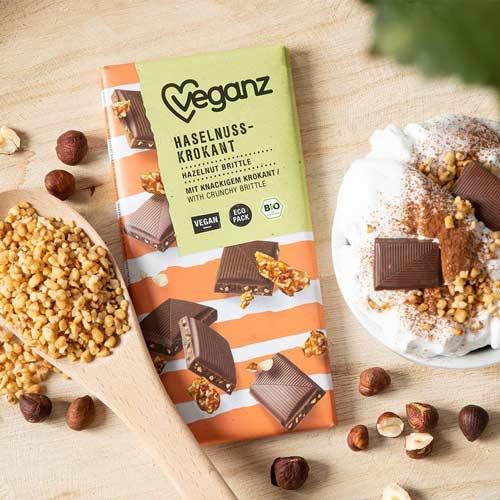 vegansk mælkechokolade køb - veganz chokolade med krokant