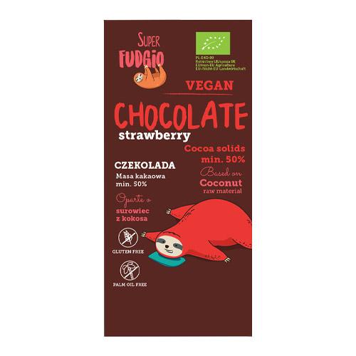 vegansk jordbærchokolade fra super fudgio