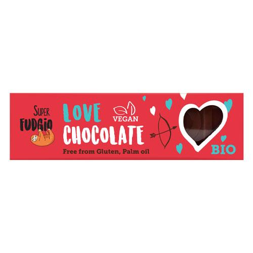 vegansk chokolade i bar - super fudgio love chocolate