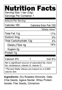 Endurance Bar Nutrional Facts