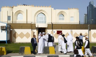 "Guests arrive for the opening ceremony of the new Taliban political office in Doha on June 18, 2013. The office is intended to open dialogue with the international community and Afghan groups for a ""peaceful solution"" in Afghanistan office spokesman Mohammed Naim told reporters. AFP PHOTO / FAISAL AL-TIMIMI (Photo credit should read FAISAL AL-TIMIMI/AFP/Getty Images)"