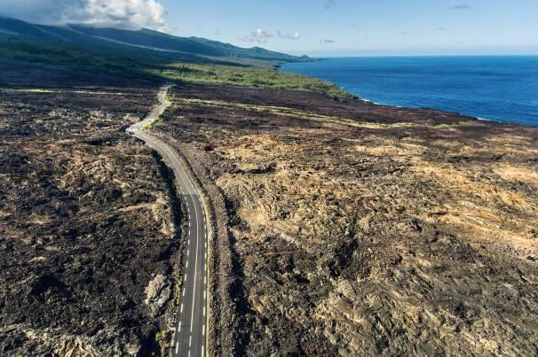 La Reunion Krater Lava Landschaft Meer