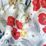 Nuwzz Linen Curtain Panel Natural Linen Summer Meadow Flowers Floral Decor Cafe Curtain Kitchen Valance Runner Napkins Available Great Gift Nuwzz