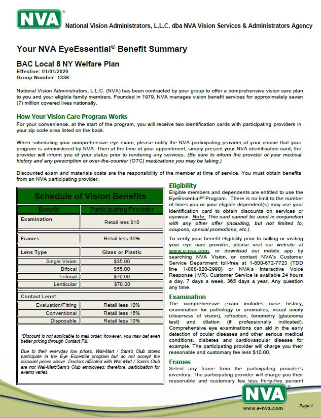 BAC LOCAL 8 NY Vision Member Brochure