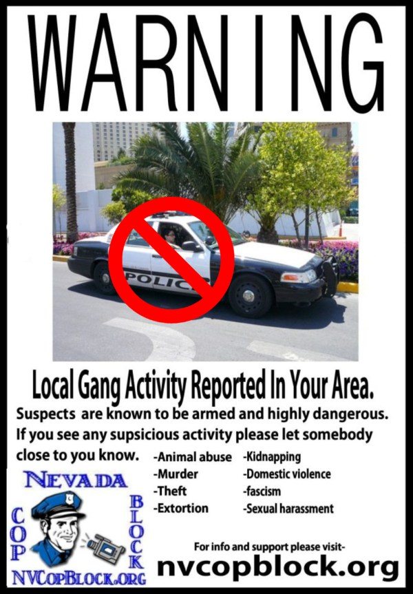 Nevada Cop Block Gang Activity LVMPD Flyer