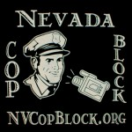 A closeup of the Nevada Cop Block logo on the t-shirts