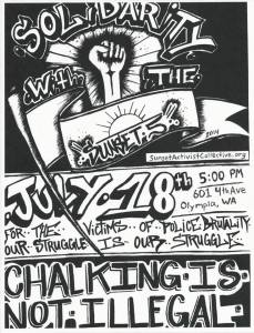 "The ""Chalk the Police State"" Flyer for Olympia, Wa."