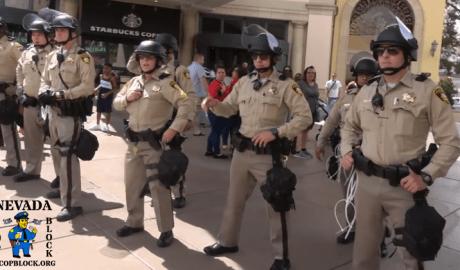 Las Vegas police riot squad on the Strip