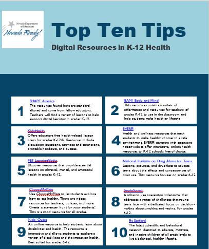 Top Ten Tips for K-12 Health