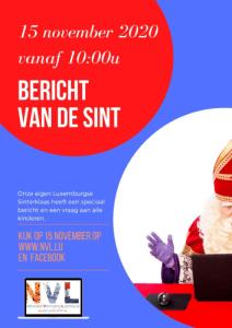 Bericht van de Sint. Sinterklaas zit achter zijn laptop.