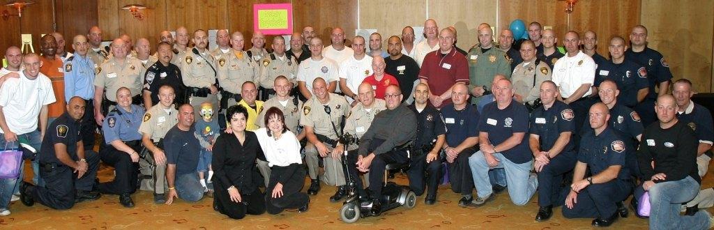 Sam Lieberman in a group photo at a Baldy Bash