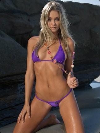purple check micro g string bikini