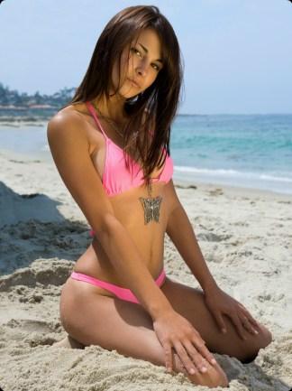 neon pink cheeky brazilian bikini