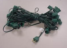 C7 Socket and Wire 25 ft 12 inch spacing GREEN
