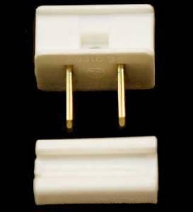 Male Slide on Zip Plug WHITE
