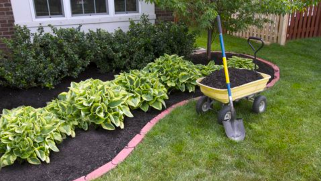 mulch and brick to protect plants and gardens