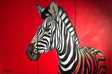 Zebra on Red