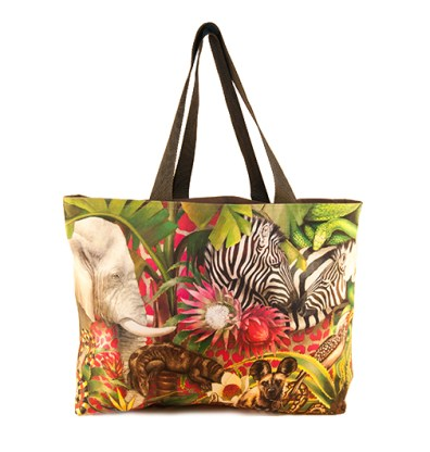 African Jungle: Elephant / Zebra – Canvas Bag