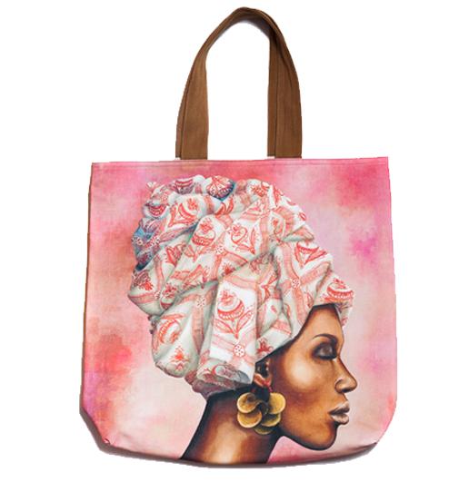 African WomanBeach Bag Pomegranate