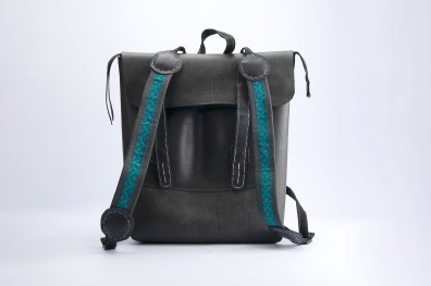 N&N Backpack Laptop bag Standing Front view two colourful straps over bag 2000pix