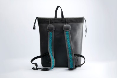 N&N Backpack Laptop bag Standing rear view two colour straps