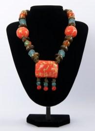 Necklace Orange Light Blue
