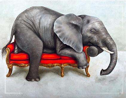 Fridge Magnet Wildlife at leisure Elephant on couch