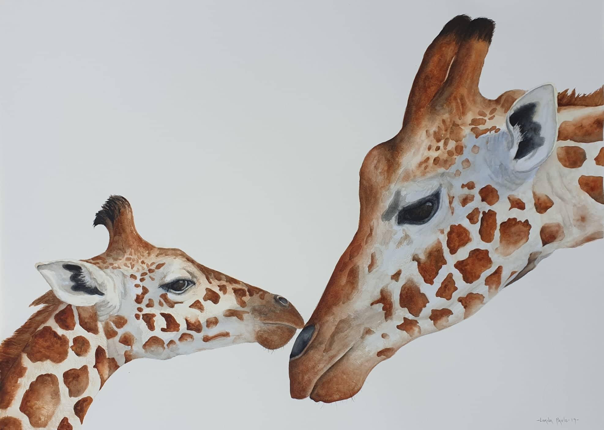 Aquarel of Giraffe adult and calf in endearing pose