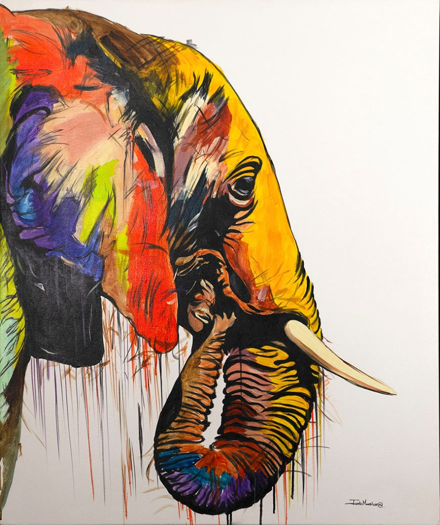 African elephant by Justin Mashora oil on c canvas painting