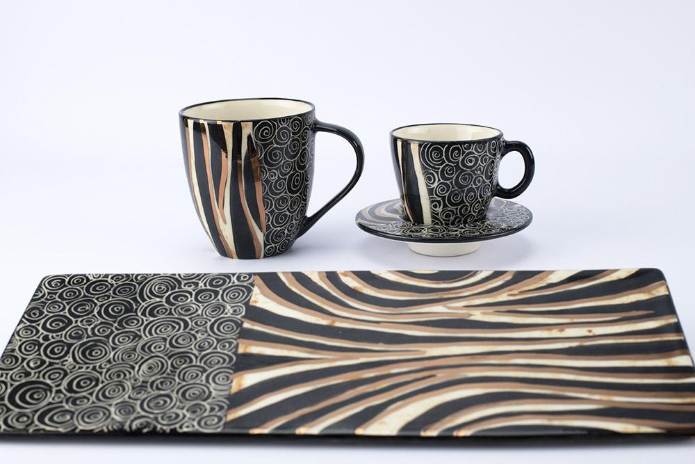 Letsopa Ceramics Hug-Mug, Cup and Saucer and Plate Medium-Flat in Black Zebra Gold design