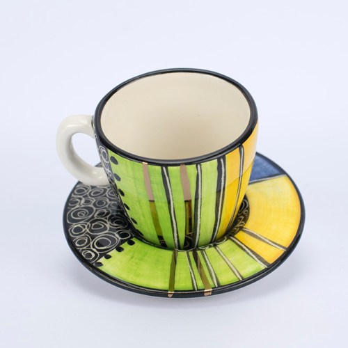 Letsopa Ceramics Cup and Saucer in Light Green Blue design